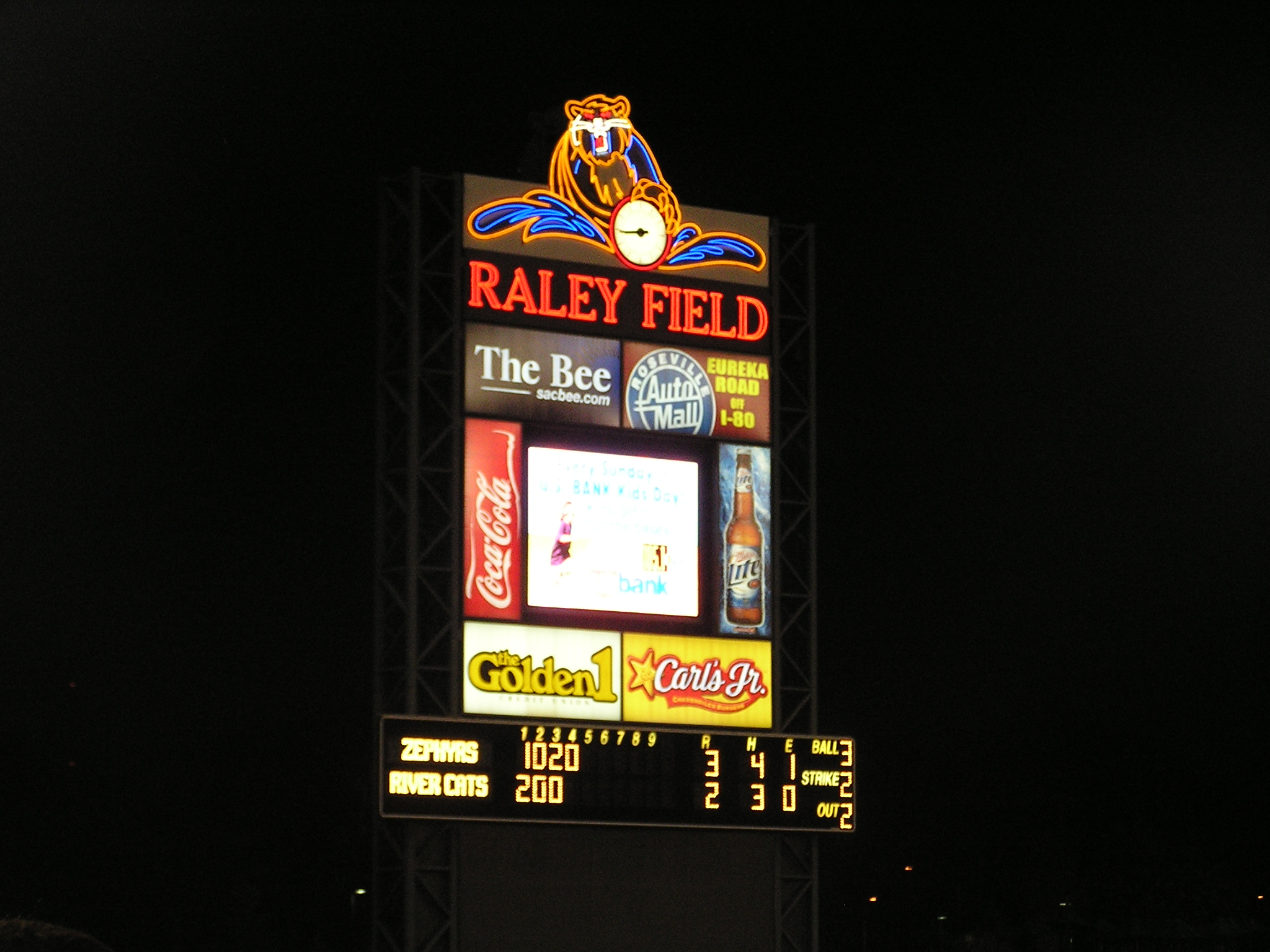 Raley Field Scoreboard - Sacramento River Cats